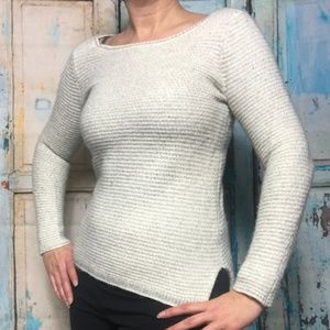 J Crew Chevron-stitch boatneck sweater